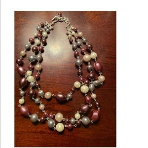 Jewelry - Plum, Gray, & Cream Colored Pearl  Necklace